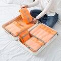 7 Pçs/set Cubo Embalagem Saco De Viagem Mulheres Roupas de Classificação de Cosméticos Bolsa De Armazenamento Portátil Organizer bagagem Acessórios Produtos
