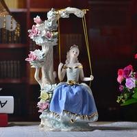 Западная девушка на качели Декор для дома керамическая статуэтка художественные ремесла кофе бар фарфоровое украшение Свадебные украшени