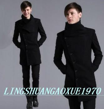 Black casual Oblique placket wool coat men 2016 jackets and coats male mens wool overcoats dress winter short trench jacket 2XL