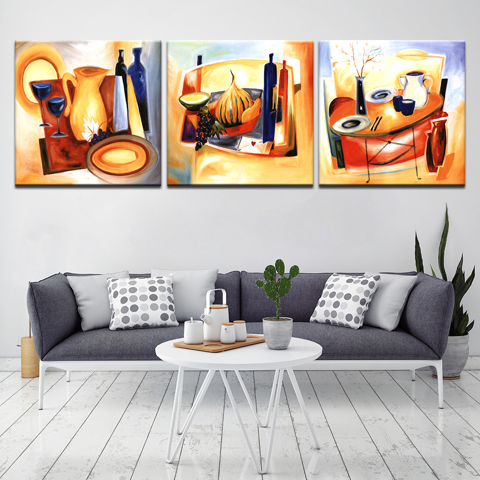 Abstract painting of desk wine glass modern Modular 3 panel wall Poster Nordic Canvas painting for Living Room Home Decor