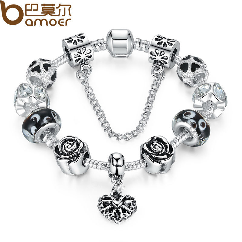 Bamoer 4 Colors Silver Heart Charm Bracelet With Safety Chain Black Beads Authentic Jewelry Pa1435 In Strand Bracelets From