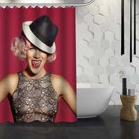 Custom PNK Shower Curtain Waterproof Fabric Bath Curtain for Bathroom WJY1.17