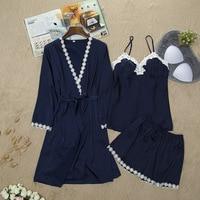 Elegant Rayon Perfect Underwear Nightwear women Sleepwear Sexy Babydoll Lace Lingerie Satin 3PCS Femal Pajamas Suit Size M L XL