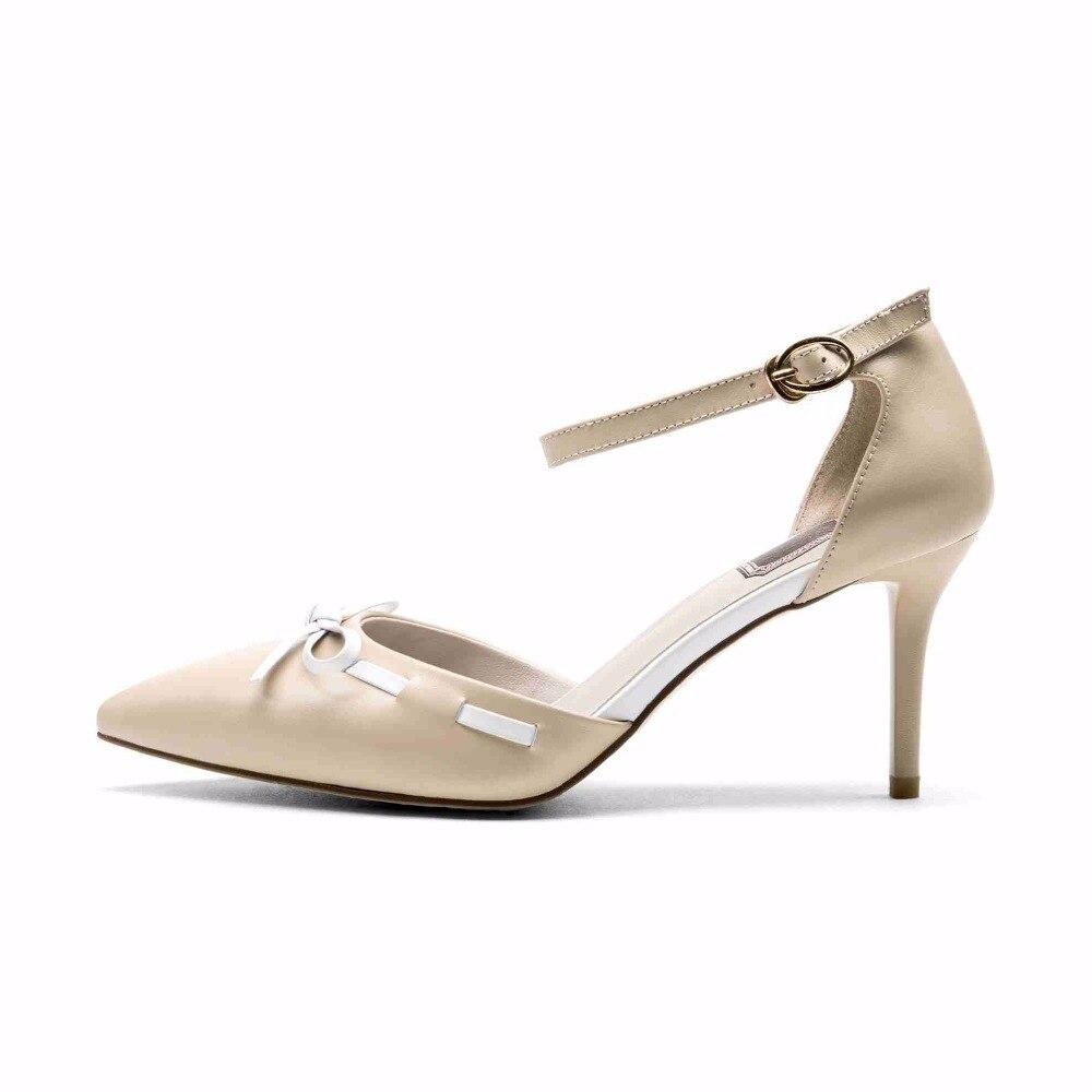 nude Cuir Nouvelle Chaussures Sangle En Véritable Lady Office Cheville Femmes noir De Bowtie Talons Mariage Beige Haute Sandales Marque Faible L1 Superstar 2018 BwxnY6w