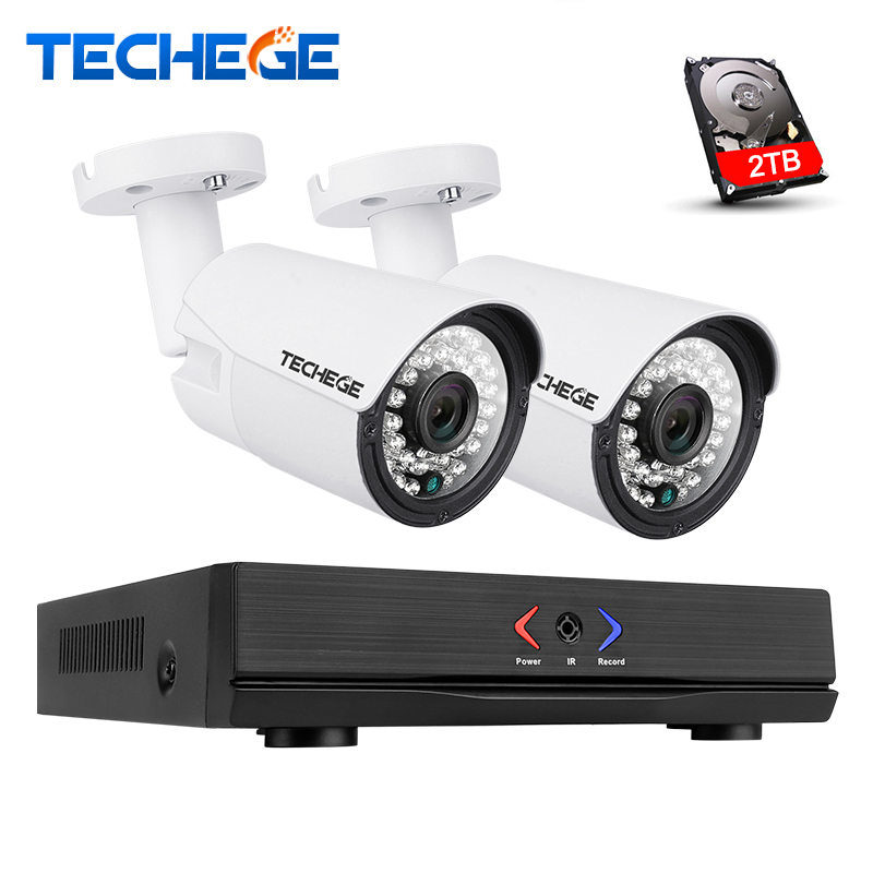 Techege 4CH 1080P POE NVR Kit 2MP IP camera IR Night Vision Waterproof IP67 P2P Cloud