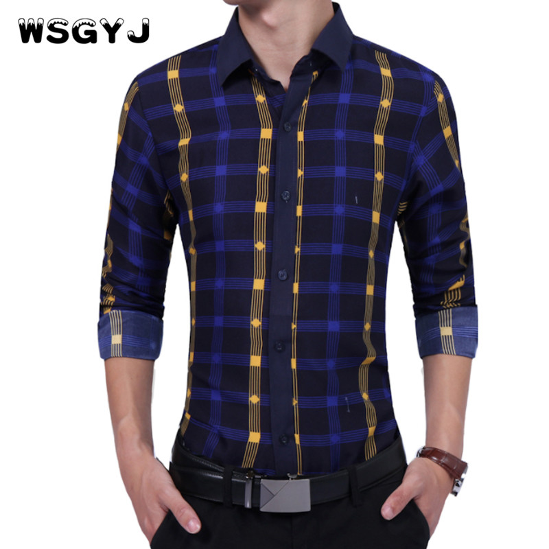 WSGYJ Brand 2018 Fashion Male Shirt Long-Sleeves High Quality Hit Color Plaid Shirt Mens Dress Shirts Slim Men Shirt XXL