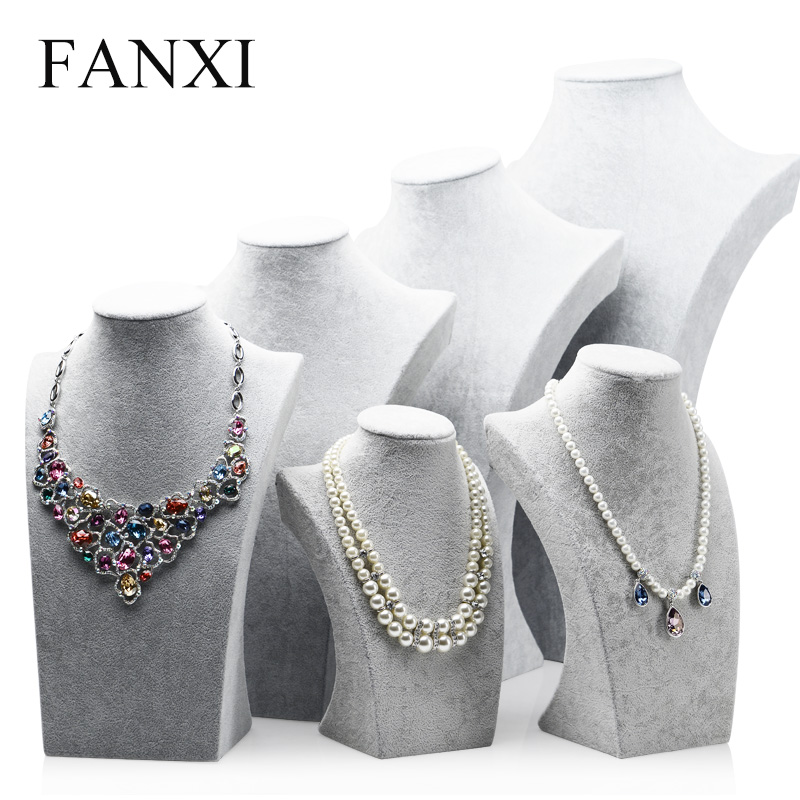 купить FANXI Elegant Silver Gray Color Velvet Jewelry Bust Stand Necklace Pendant Chain Hanger Display for Counter Neck Stands Display онлайн