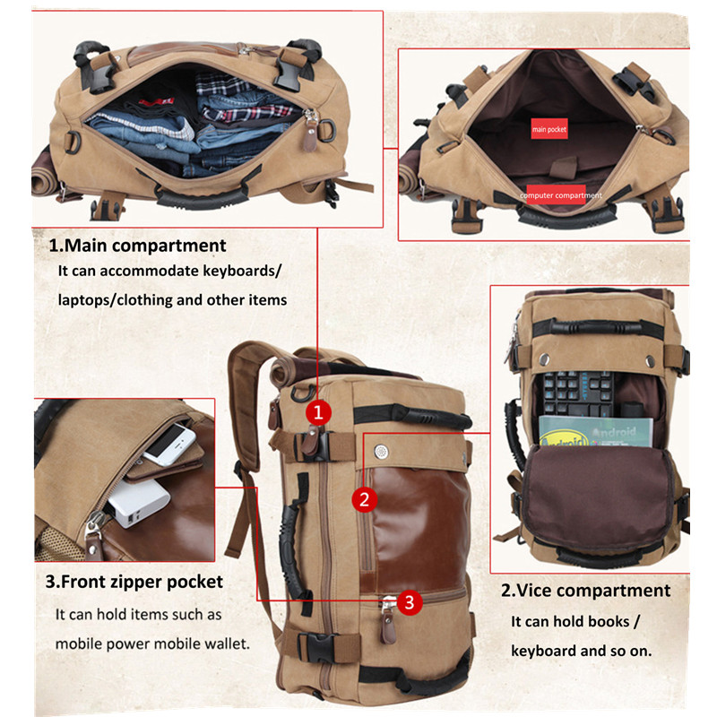 men's vintage canvas backpack duffel shoulder hiking camping bag travel rucksack khaki 6_