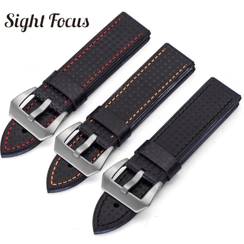 Carbon Fiber Watch Accessories Leather Strap for Panerai Wristbands Watch Bands Male <font><b>Bracelets</b></font> 20mm 22mm 24mm 26mm Mens Belt <font><b>PAM</b></font> image