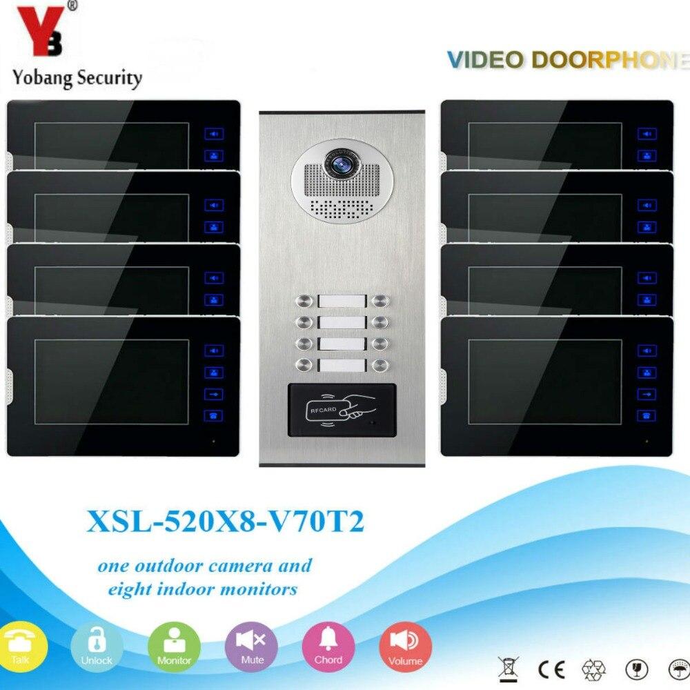 YobangSecurity Video Intercom 7Inch Video Door Phone Home Doorbell Intercom System RFID Access Door Camera For 8 Unit Apartment