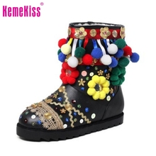 Russia Winter Warm Snow Boots Women Real Leather Thickened Fur Ankle Botas Woman Ethnic Style Flats Brand Shoes Woman Size 34-39