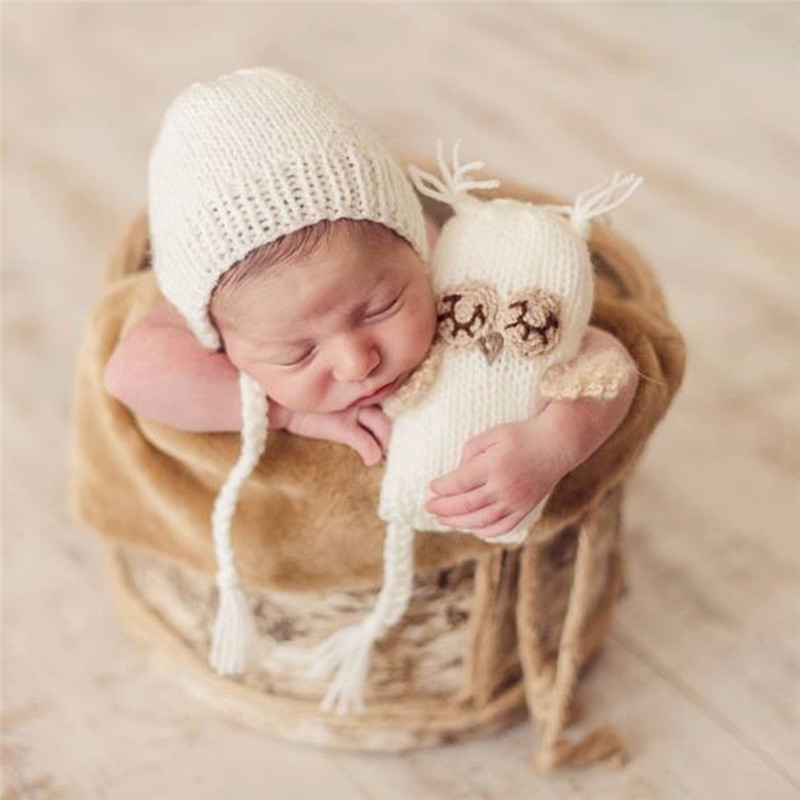 Pasgeboren Fotografie Haak Beer Oren Hoeden Voor Baby Fotoshoot