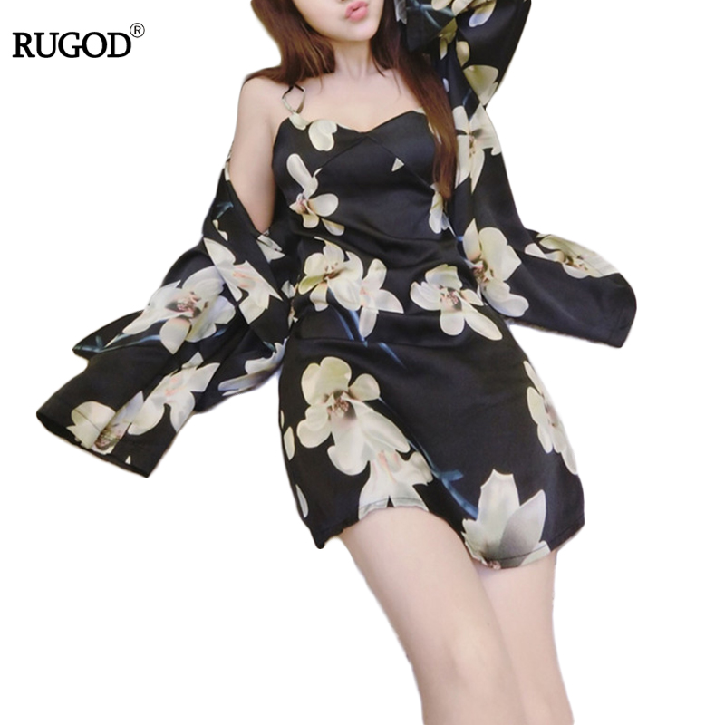 New Arrivals 2018 Sexy Silk Robes and Gown Sets Vintage Floral Print Two Piece Sets Suspender Sleepwear + Bathing Robe Hot