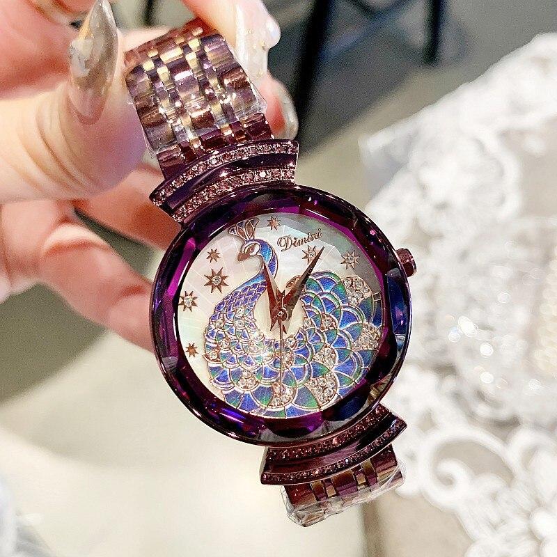 2019 marque de luxe dame cristal montre femmes robe montre de mode Rose or bleu Quartz montres femmes en acier inoxydable montres
