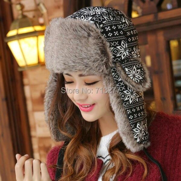 Trapper Hat Trooper-Hat Russian-Hat Bomber-Cap Ear-Flap Snowflower Female Winter Women