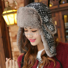 Winter Warm Proof Trapper Hat Women Men Bomber Hat Classic Snowflower Russian Hat Outdoor Ski Ear Flap Trooper Hat Bomber Cap