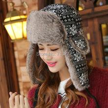HT352 Winter Warm Proof Trapper Hat Women Men Bomber Hat Classic Snowflower Russian Hat Female Ear
