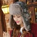 Winter Warm Proof Trapper Hat Women Men Bomber Hat Classic Snowflower Russian Hat Outdoor Ski Ear Flap Trooper Hat Bomber Cap