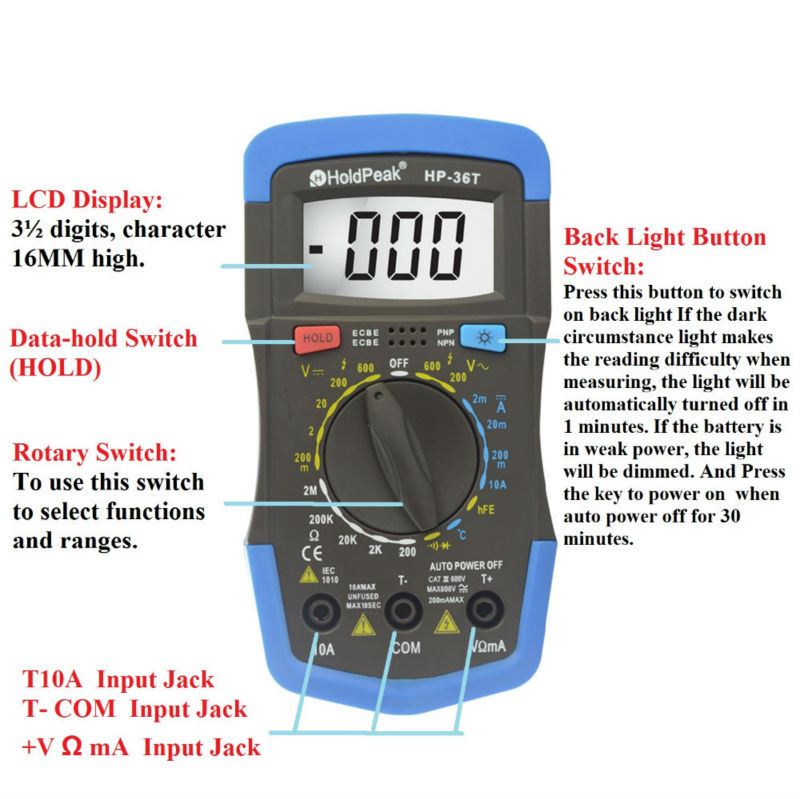 Mini Multimeter HoldPeak HP-36T DC/AC Voltage Digital Multimeter with Temperature Test Free Shipping mini multimeter holdpeak hp 36c ad dc manual range digital multimeter meter portable digital multimeter