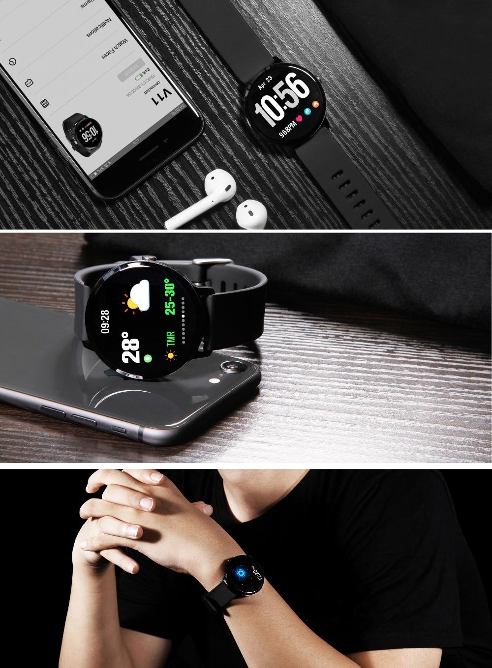 Fentorn V11 Smart watch IP67 waterproof Tempered glass Activity Fitness tracker Heart rate Blood Pressure Men women smartwatch 18