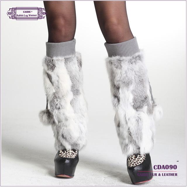 Frete Grátis 2017 Hot Sale Da Moda Coelho Genuine Fur Leg Warmer Mulheres no inverno