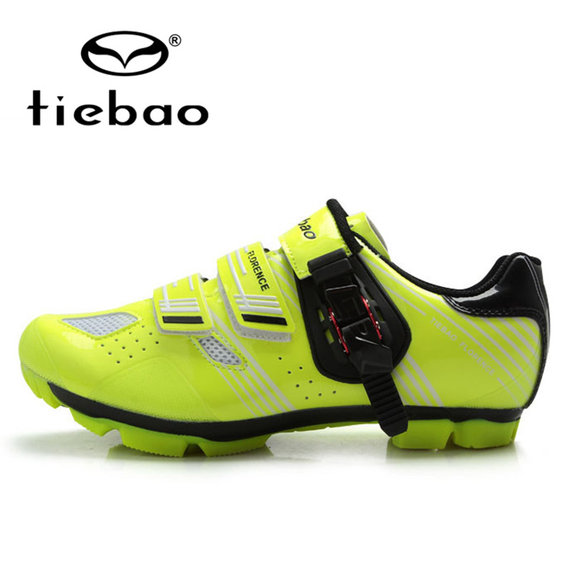 ФОТО TIEBAO Professional Men Women MTB Cycling Shoes Mountain Bike Bicycle Breathable Self-locking Sport Shoes zapatillas clismo