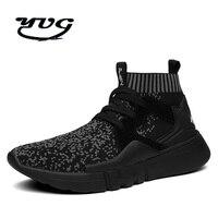 Người đàn ông Giày 2017 Mùa Thu Giày Chạy cho Nam Giới Lưới Ngoài Trời Thể Thao Nhẹ Nam Giày Fly Dây Chuyền Công Nghệ Socks Giày Đen
