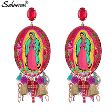 Sehuoran Big Angel Pendients Tassel Earrings For Woman Crystal Statement Earrings Fashion Jewelry Oorbellen Brincos Wholesale