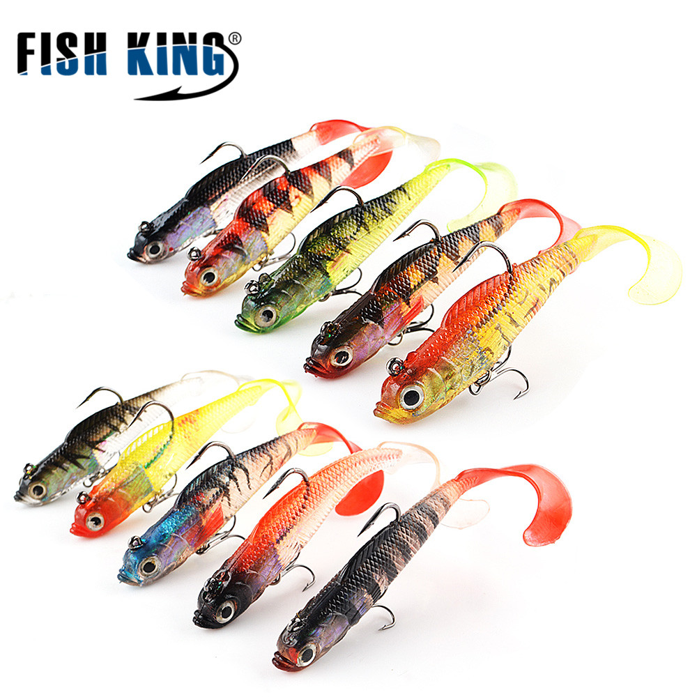 FISH KING 5PC/Lot 8CM 9G Fishing Lures Soft Bait 3D Eyes Lead Head Bass Long Tail Baits Pesca Fishing Tackle With Treble Hook рыболовный поплавок night fishing king 1012100014 mr 002