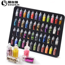 48 pcs/Sets Nail Glitter Sequin Mixed Mirror/Meramid/Sugar R