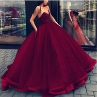 Vestido 15 anos Burgundy Quinceanera Dresses Strapless Ball Gown Cheap Quinceanera Dresses 2019 Sweet 16 Dresses Debutante Gowns