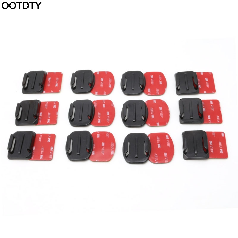 12Pcs Helmet Accessories Flat Curved Adhesive Mount For Gopro Hero 1/2/3 /3+ 4 #L060# new hot