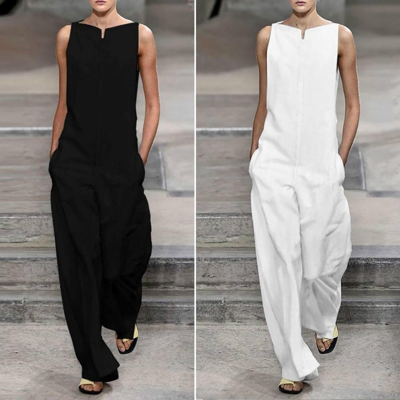 VIEUNSTA 2019 White/Black Fashion Sleeveless   Jumpsuits   Summer Women Pure Color Pocket Loose Rompers Elegant Lady Office Overalls