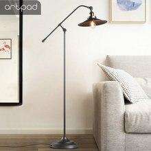 American Retro Industrial Floor Lamp Metal Iron Lampshade E27 Edison Bulb LED Adjustable Black Floor Light Standing Lighting