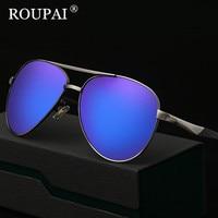ROUPAI Original Famous Brand Designer 2017 Luxury Men Polarized Sunglasses Steampunk Coating Mirrored Male Eyeglass Sun