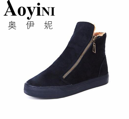 Women Boots 2016 Winter Women Snow Boots Cotton Shoes Woman Ankle Boots Flat With Round Toe High Top Shoes Warm Casual Shoes sgesvier warm snow boots ankle boots high heel wedge boots retro round toe slip on casual shoes winter shoes for women ox148