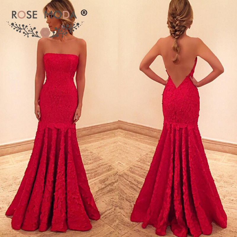 Rose Moda Sleeveless Red Lace Mermaid   Prom     Dress   Sexy Open Back Party   Dress   2019