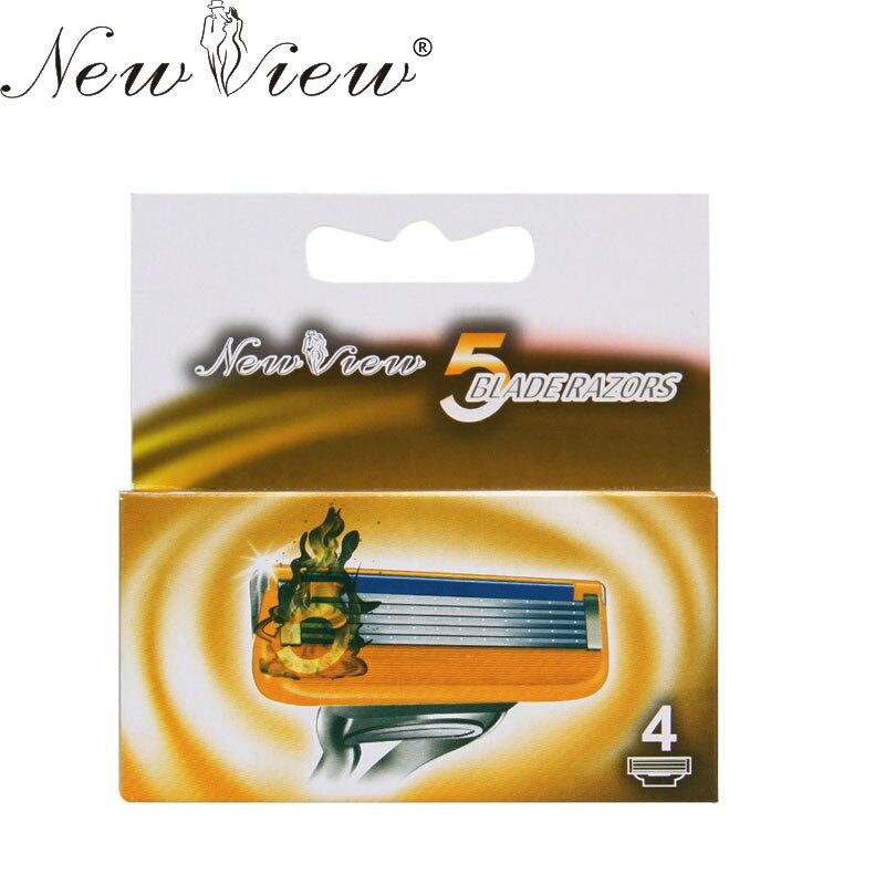 Newview 4 шт. Бритвы лезвия Борода лезвие бритвы высокое качество Sharp Бритвы 5-blade Уход за кожей лица для бритья для Для мужчин