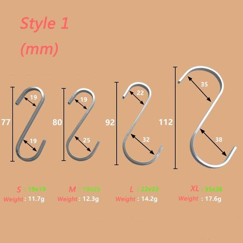 2 Pcs Stainless Steel S Hooks Hanging Clothes Umbrella Kitchen Sundries Hanger TSH Shop