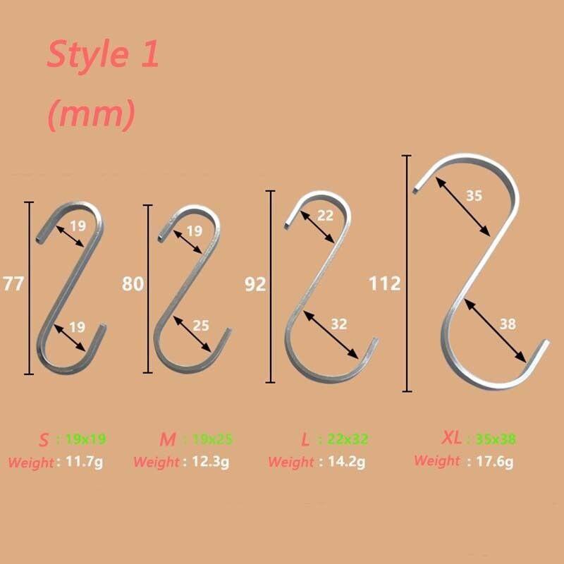 2 Pcs Stainless Steel S Hooks Hanging Clothes Umbrella Kitchen Sundries Hanger TSH Shop