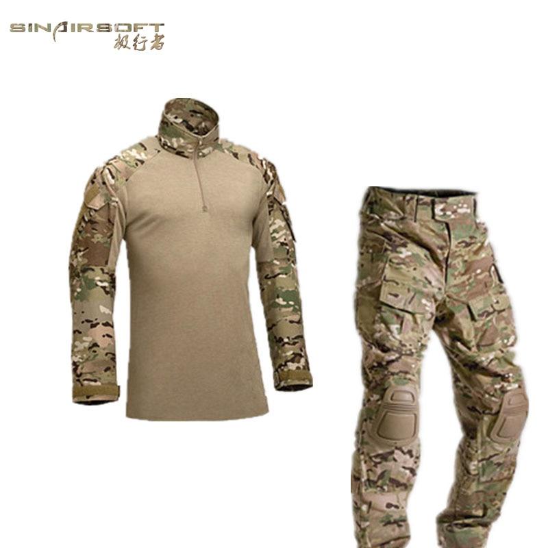 Army Combat Shirt & Pants Tactical Combat Uniform W/ Knee Elbow Pads Camouflage Hunting Clothes Ghillie Suit Train Exercise Sets military uniform multicam army combat shirt uniform tactical pants with knee pads camouflage suit hunting clothes