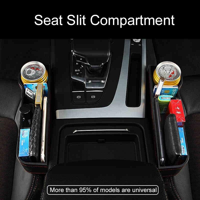 Voiture multi-fonction sièges Gap boîte de rangement en cuir étanche boîte bouteille support de verre universel siège latéral fente poches organisateur