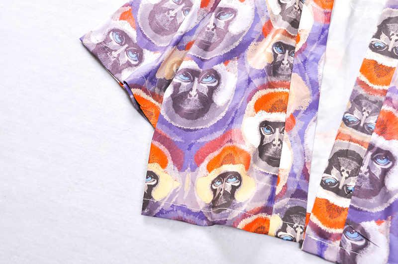 Harujuku кимоно гавайская рубашка Ретро рубашка с принтом для мужчин и женщин летние пляжные повседневные рубашки с коротким рукавом хип-хоп Японская уличная