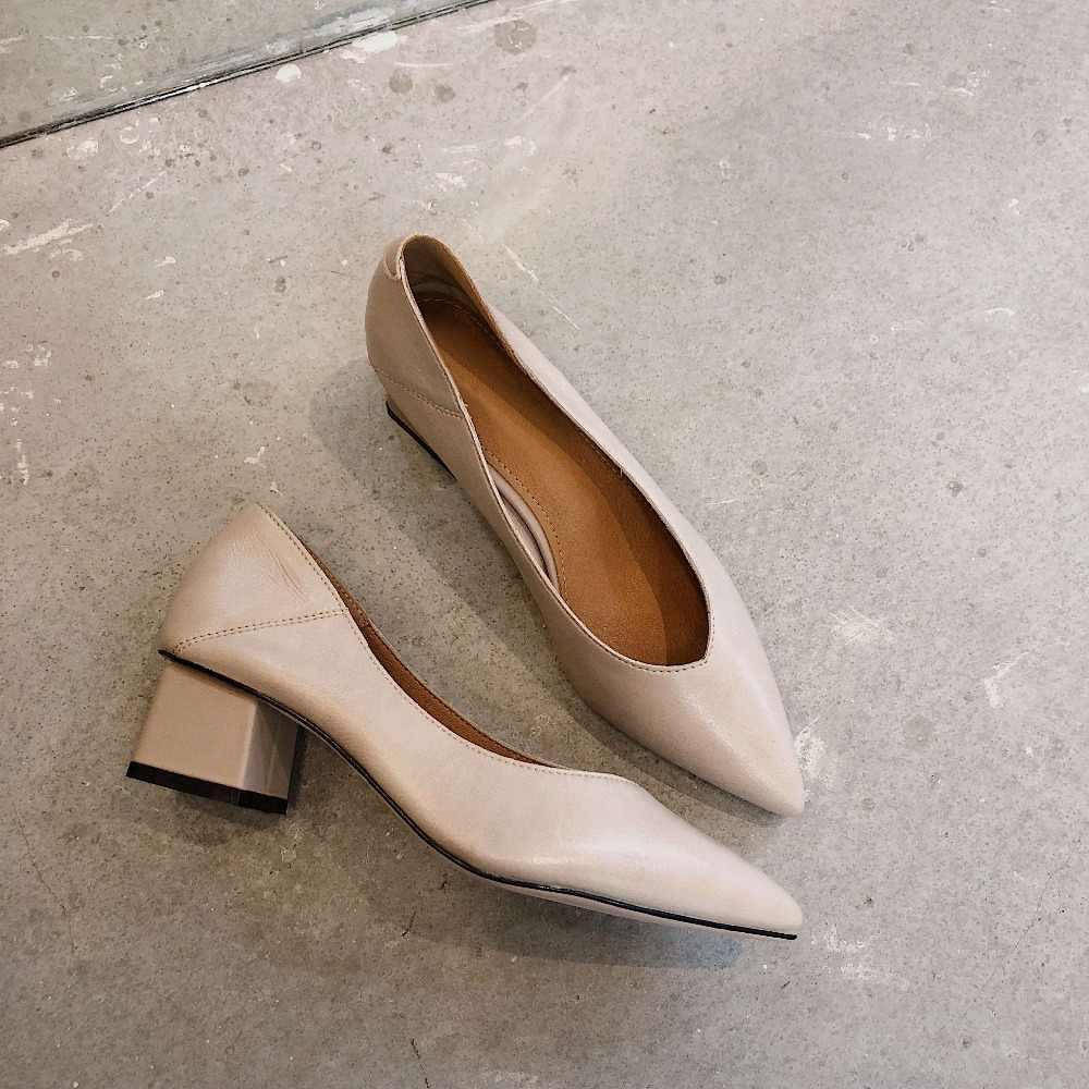 Lenkisen urząd lady pointed toe masywne obcasy slip on pełne ziarno skórzana sukienka kariera kobiety pompy europejskie buty superstars L30