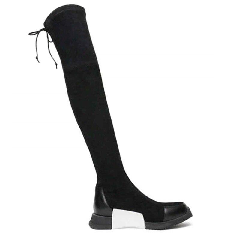 ginocchio croce nero scarpe moda stivali scamosciata sul autunno in eleganti donna inverno da Asumer rotonda donna attaccato punta pelle xPgRR