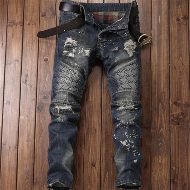 2017 new font b men b font jeansbeggars ripped afligido font b jeans b font biker