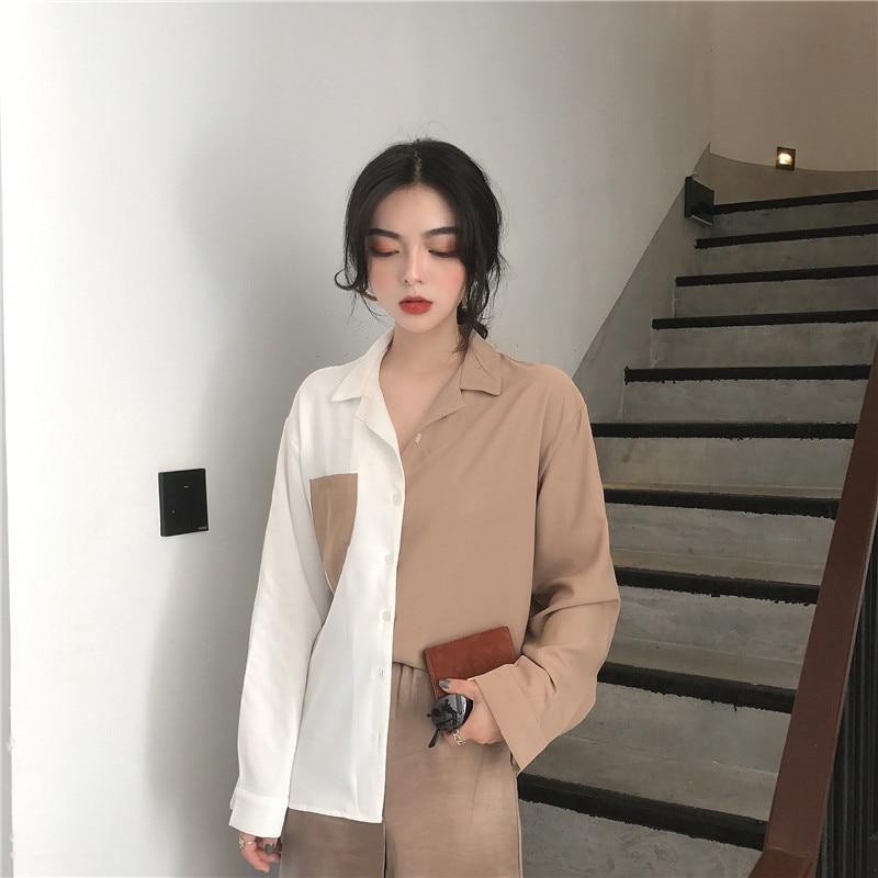 Woherb Korean 2019 Summer Harajuku Women Tops Contrast Blouses Black White Patchwork Shirt Elegant Lady Top Chic Blusas 74820