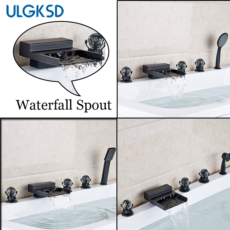 Ulgksd 5 pcs Bathtub Faucet Oil Rubbed Bronze Waterfall Spout Mixer Taps Bathroom Shower Faucet W/ Handshower orbit лимон и мята леденцы 35 г