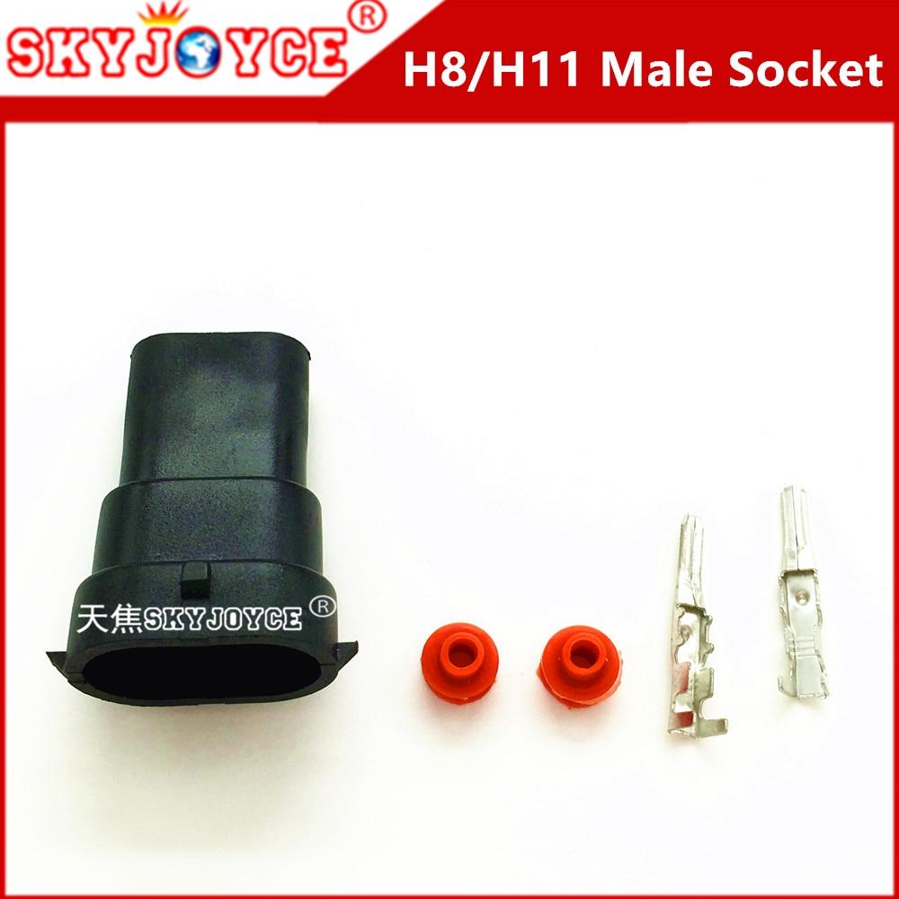 37d3740f5 50 sets Car Male socket for H11 H8 HID LED Headlight kit Socket ...