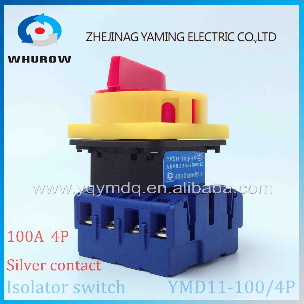 Isolator switch YMD11-100A/4P load break switch universal power cut off switch on-off changeover cam switch 8 sliver contacts postage authentic pair of thai pair household knife switch 4 wire switch power load bidirectional inverted 4p 160a